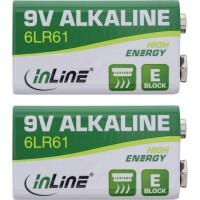 Pile alcaline haute énergie InLine®, bloc 9V, 6LR61, paquet de 2