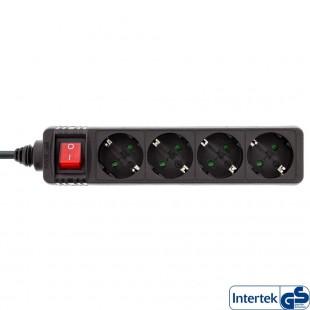 Barrette d'alimentation InLine® type F allemande 4 ports avec interrupteur + sécurité enfants noir 1,5 m