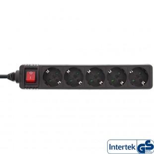 Bande d'alimentation InLine® type F allemande 5 ports avec interrupteur + sécurité enfants noir 1,5 m