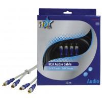 CABLE 2X RCA MALES - 2X RCA MALES SILVER HQ - 10m