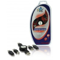 KIT CABLE USB 2.0 RETRACTABLE M-F 1.20M HQ