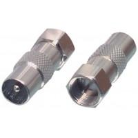 Adaptateur d'antenne Fiche F F mâle - Coax Mâle (IEC) Argent
