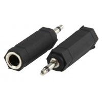 Adaptateur Jack mono 3,5 mm mâle - 6,35 mm, femelle Noir