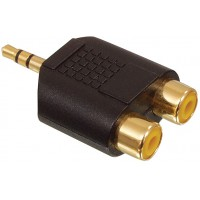 Valueline adapter plug 3.5mm stereo plug to 2 phono sockets (GOLD)