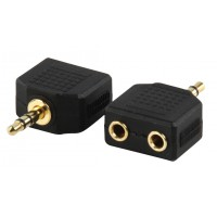 Valueline adapter plug 3.5mm stereo plug to 2 x 3.5mm stereo socket (GOLD)