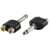 Valueline adapter plug 6.35mm mono plug to double RCA socket