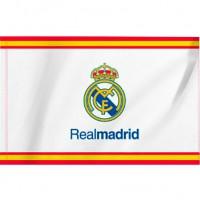 REAL MADRID - Drapeau Real Madrid avec franges de l'Espagne - Produit sus Licence - Mesure 150 x 90 cm.- 100% Polyester