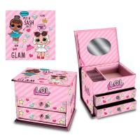 CORIEX - LOL–boîte à Bijoux Suprise 2tiroirs et Compartiment supérieure avec Miroir–Bow Bling