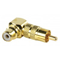 Valueline adapter plug angled RCA plug to RCA socket (GOLD)