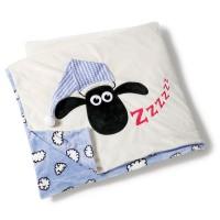 NICI - NICI 41474Shaun le mouton Peluche couverture avec bonnet, 175x 140cm, Couleur : Bleu avant Blanc arrière de Sommeil av