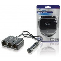 REPARTITEUR ALLUME-CIGARES 12V 3-VOIES + USB HQ