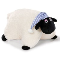 NICI - NICI 41472Shaun le mouton doudou avec coussin Shirley de Sommeil Bonnet, 40x 30cm, couleur : blanc/noir