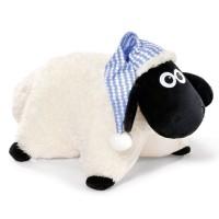NICI - NICI 41473Shaun le mouton doudou avec coussin de Sommeil Bonnet, 40x 30cm, couleur : blanc/noir