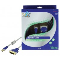 CABLE HDMI MALE 19P - DVI-D MALE SILVER HQ - 10m