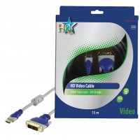 CABLE HDMI MALE 19P - DVI-D MALE SILVER HQ - 15m