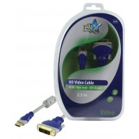 CABLE HDMI MALE 19P - DVI-D MALE SILVER HQ - 2.5m