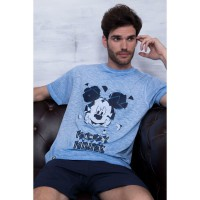 DISNEY - Manches courtes pyjama Disney homme Mickey Glass, couleur bleu, taille M