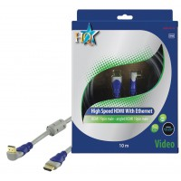 CABLE HDMI HIGH SPEED 19P MALE - 19P MALE COUDE SILVER HQ - 10m