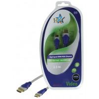 CABLE HDMI HIGH SPEED 19P MALE - MINI HDMI 19 MALE SILVER HQ - 2.5m