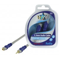 CABLE 3.5MM STEREO MALE - 3.5MM STEREO FEMELLE SILVER HQ - 1.5m
