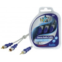 CABLE 3.5MM STEREO MALE - 2X RCA MALES SILVER HQ - 0.7m