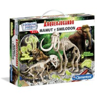 CLEMENTONI - Jeu d'archéologie fluorescente Smilodon + Mammouth
