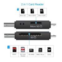 Alpexe Lecteur de Carte Mémoire, SD/Micro SD Lecteur de Carte et Micro USB OTG à USB 2.0 Adaptateur avec Standard USB Micro USB