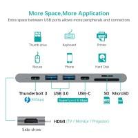 """Alpexe Hub USB-C Adaptateur Thunderbolt, Port HDMI 4K, Lecteur de SD & Micro SD, USB 3.0, Compatible avec 13""""/15"""" MacBook Pro 20"""