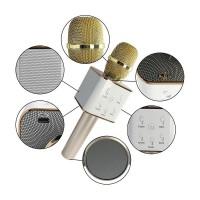 Alpexe Microphone sans fil portable Bluetooth KTV Micro haut-parleur USB doré