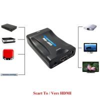 Alpexe Convertisseur Péritel vers HDMI Adaptateur SCART vers HDMI 1080P HD Compatible avec NTSC PAL pour Sky HD Blu Ray PS3 TV C