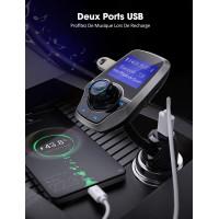 Alpexe Transmetteur FM Bluetooth Adaptateur Autoradio Kit Voiture Main-libre Sans Fil Port USB 5V/ 2.1A et Port Audio 3,5mm