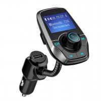"""Alpexe Kit Mains Libres Bluetooth Transmetteur FM avec Lecteur de Carte TF, LCD 1,44"""" et Port USB 5 V/2,1 A Gris"""