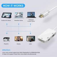 Alpexe Mini DisplayPort Adaptateur, 3 en 1 Mini DisplayPort (ThunderboltTM Port Compatible) vers HDMI / DVI / VGA Mâle