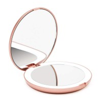 Alpexe Miroir de Poche 10 LEDs Miroir Illuminé Grossissant Double Face