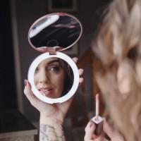 Alpexe Miroir de Poche Grossissant Lumineux Pliable pour Compact et Portable