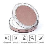 Alpexe Miroir de maquillage avec LED à Double Faces, Rechargeable