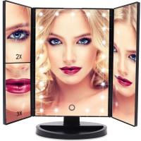 Alpexe Miroir Maquillage Grossissant LED, Lumineux 3X/2X avec Ecran Tactile, Rotation Réglable à 180 ° NOIR