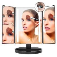 Alpexe Miroir de Maquillage LED lumineux Triple Grossissant Écran Tactile, 180 ° NOIR