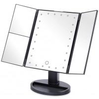 Alpexe Miroir de Maquillage Triple, Lumineux à LED de Magnification 1X / 2X / 3X NOIR