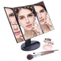 Alpexe Miroir Maquillage Lumineux LED Grossissant 10x Écran Tactile Rotation de 180 ° sur Pied NOIR