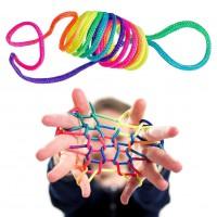 Alpexe Corde à Doigts Rainbow Puzzle Toy Rope Jeu Doigt Ficelle Multicolore