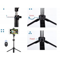 Alpexe Perche Selfie Bluetooth, Trépied Monopode avec Télécommande avec Support Téléphone pour Smartphones (Noir)