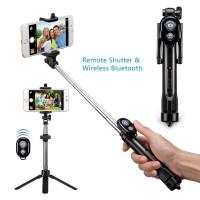 Alpexe Perche Selfie Trépied, Bluetooth 3 en 1 Extensible Rotation à 360 ° pour iPhone/Android jusqu'à 3,5-6 Pouces