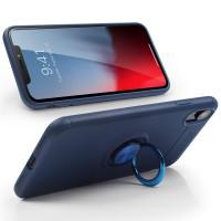 Alpexe Coque pour iPhone 11 Pro/XS/S avec Support de Bague rotative 360 Bleu