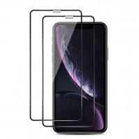Alpexe 2 pièces Verre Trempé iPhone 11 / iPhone XR, Couverture Complète NOIRE Film Protection écran