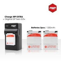 2 x batteries + chargeur pour GoPro hero 3+ et GoPro 3 - MP EXTRA