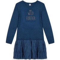 3 POMMES Robe Bleu Grisé Enfant Fille