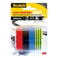 3M 4 rouleaux de ruban adhésif - 10 m x 15 mm - Isolant électrique