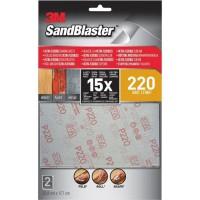 3M SANDBLASTER Lot de 2 Feuilles abrasives - 17,7 x 11,4 cm - Grain : 220