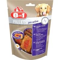 8in1 Filets de poulet séchés Pro Active enrichis en chondroitine et de la glucosamine - Taille S - Pour chien - Carton de 8 sach